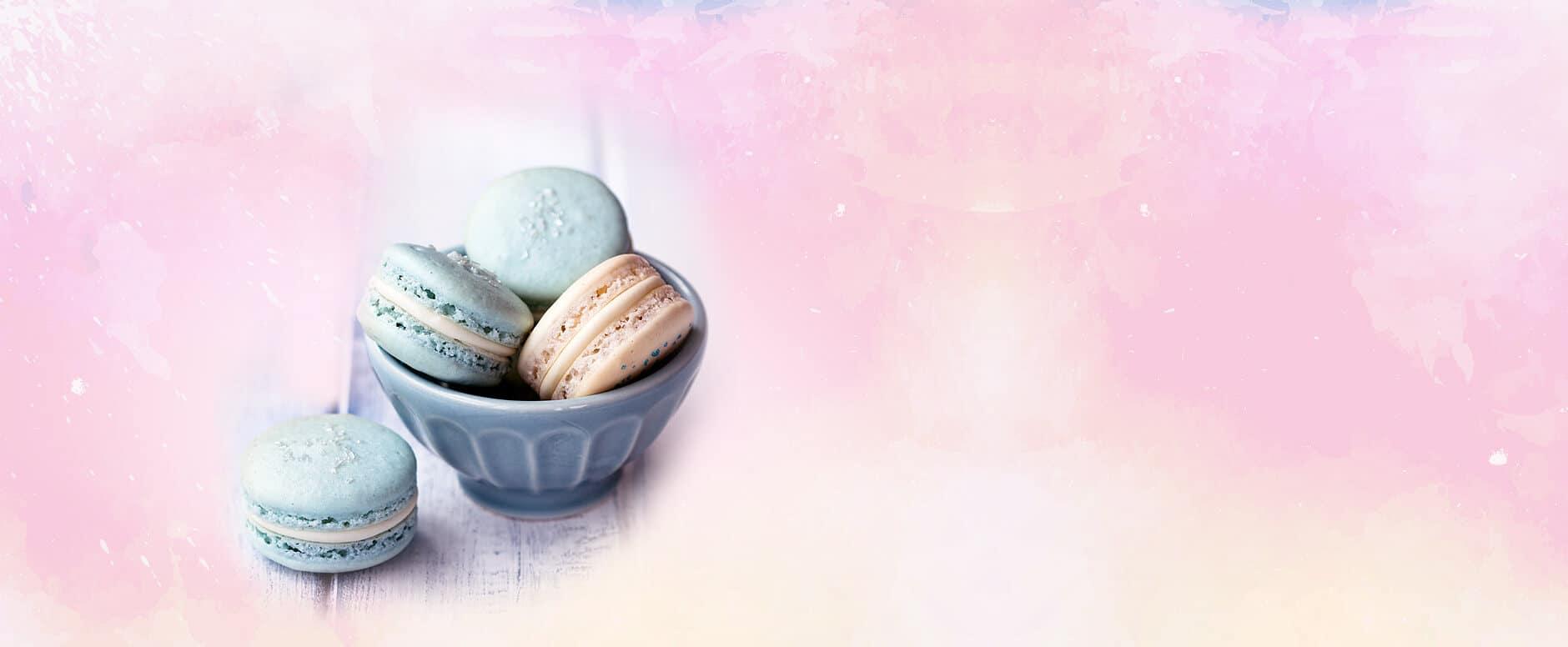 3 macarons in pastelkleuren