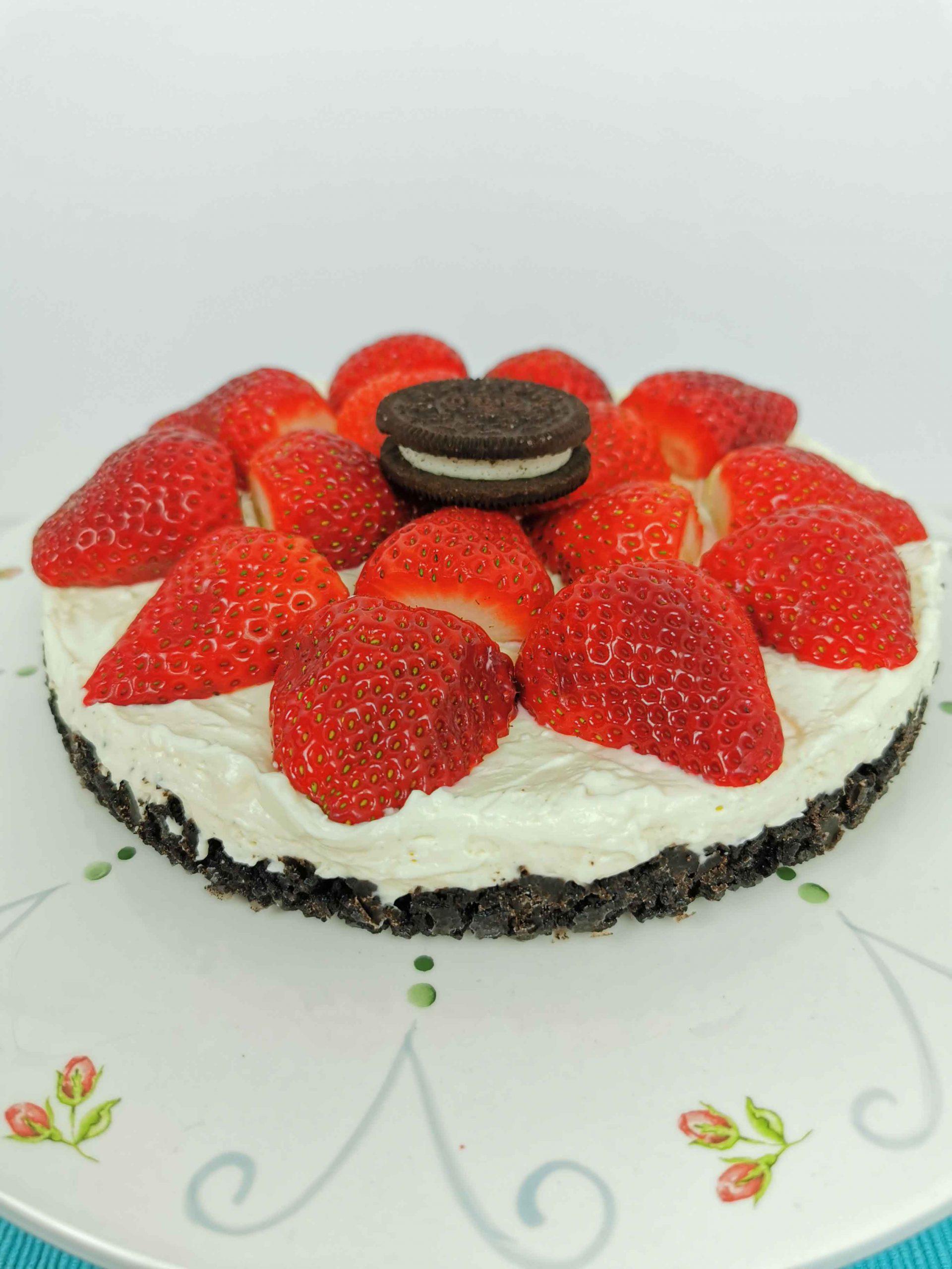 aardbeiencheesecake met oreobodem