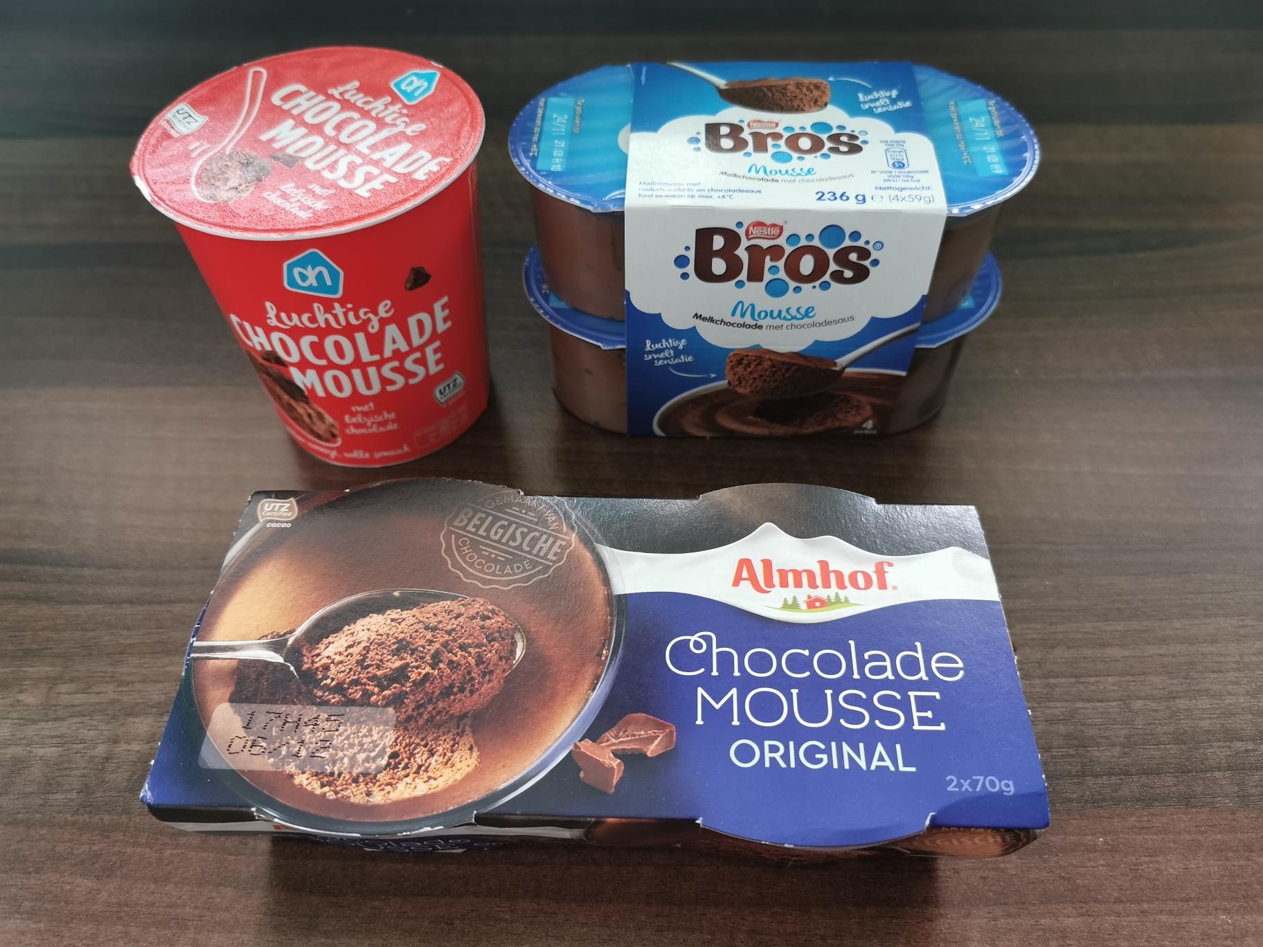 3 soorten chocolademousse voor test welke het lekkerste is