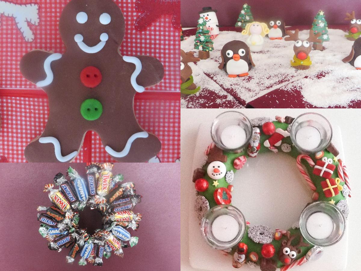 eetbare kerstdeco met een gingerbread mannetje, een adventskrans van fondant en een krans van kleine Celebrations