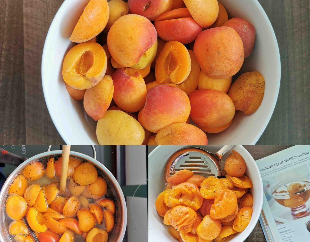 collage abrikozen in Amaretto, stap 1: ontpitte abrikoosjes, stap 2: abrikoosjes met vanille en water in de pan, stap 3: de gekookte gramboosjes met het kookboek waar het recept in staat