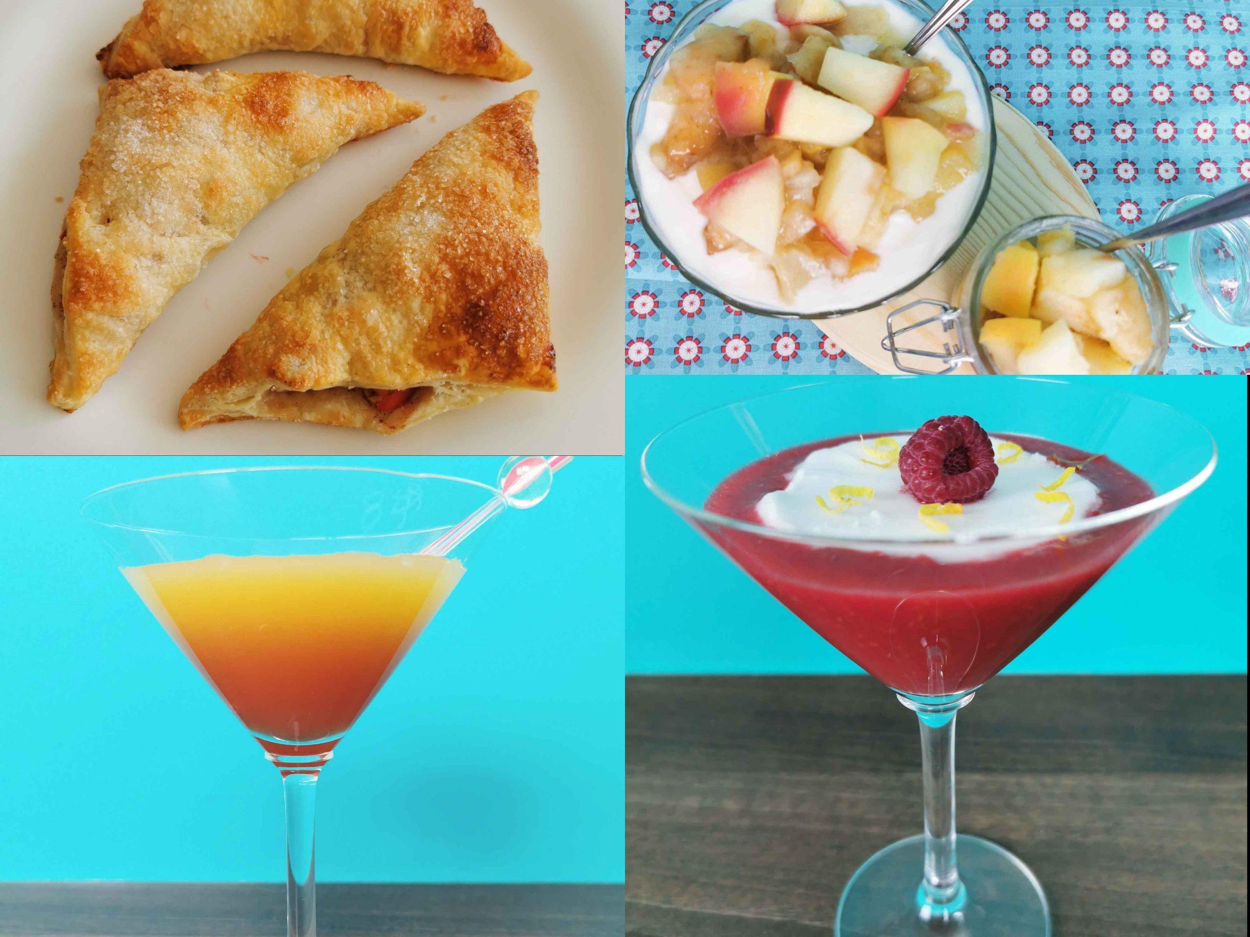 collage van appelflappen, appel-perencompote, cocktail en frambozensmoothie
