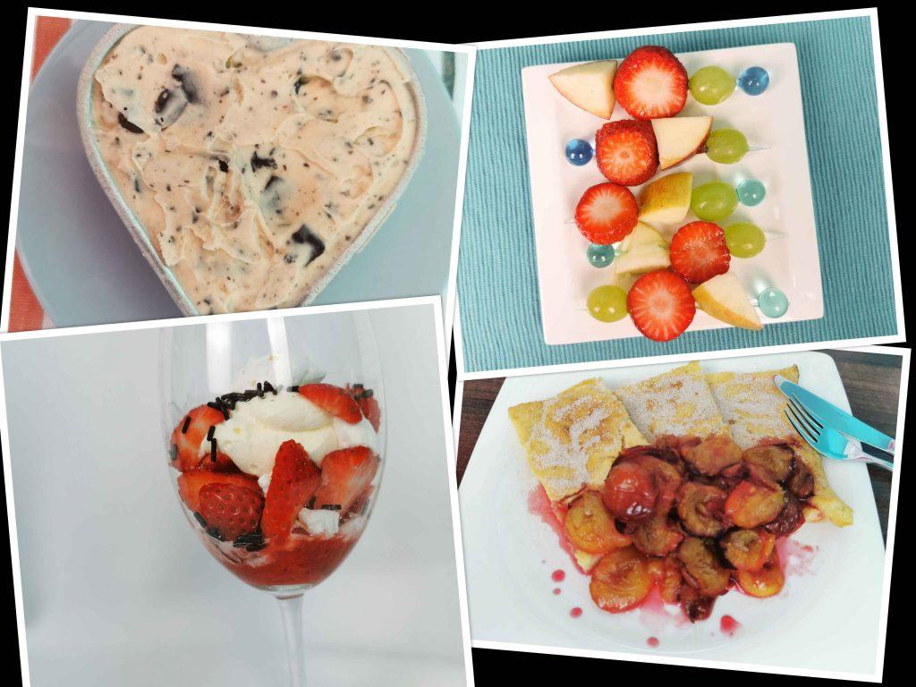 collage van pindarotsjesijs, fruitspiesjes, eton mess en pannenkoek met pruimen